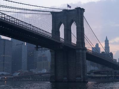 Sunset Behind the Brooklyn Bridge and Manhattan on a Humid Summer Evening-John Nordell-Photographic Print