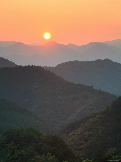 Sunset Beyond Mountains--Photographic Print