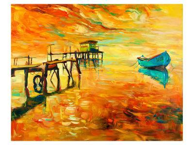 Sunset Boat and Jetty Painting--Art Print