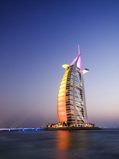 Sunset, Burj Al Arab Hotel, Dubai, United Arab Emirates, Middle East-Amanda Hall-Photographic Print