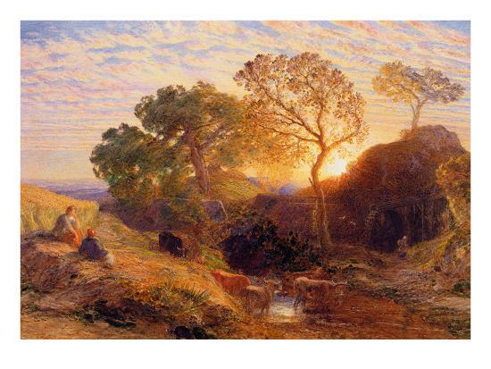 Sunset, C.1861 (W/C, Graphite, B/C and Gum on Card)-Samuel Palmer-Giclee Print