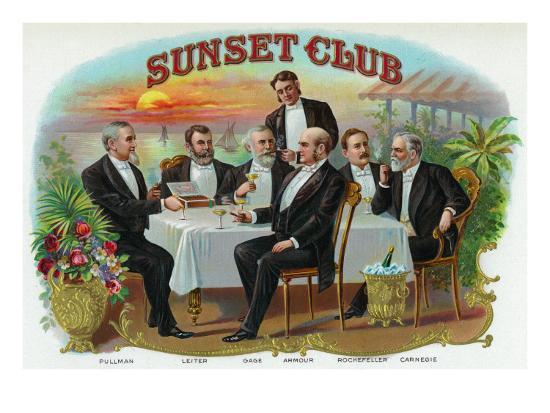 Sunset Club Brand Cigar Box Label-Lantern Press-Art Print