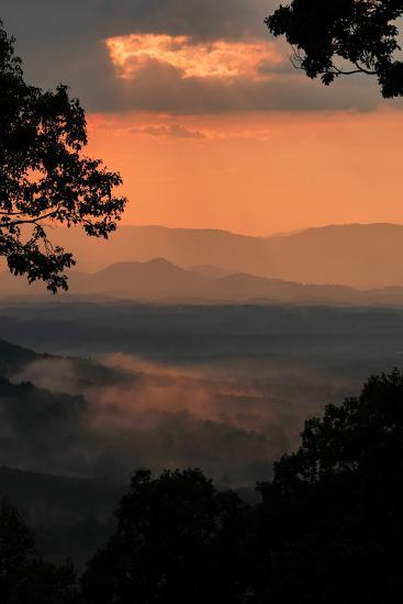 Sunset Colors a View of a Distant Mountain Range after a Rainstorm-Amy White and Al Petteway-Photographic Print