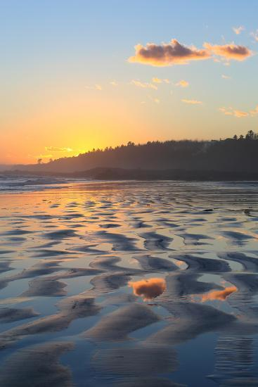 Sunset Colors Reflect onto Maine's Higgins Beach in Wintertime-Robbie George-Photographic Print