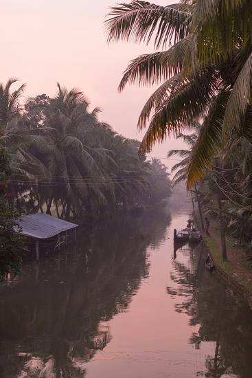 Sunset Creates a Beautiful Pink Hue in the Backwaters-Kelley Miller-Photographic Print