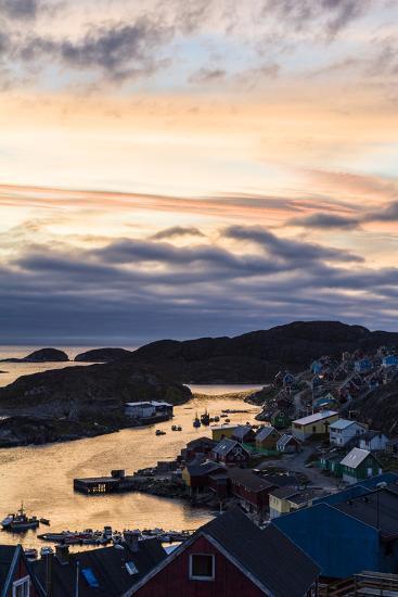 Sunset Falls over an Arctic Fishing Village on a Rugged Island-Jason Edwards-Photographic Print