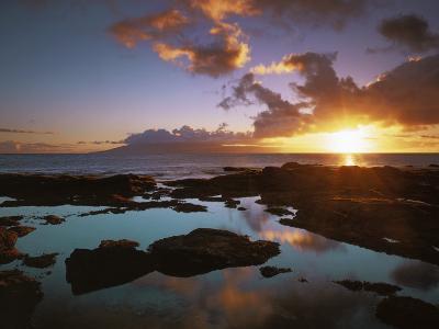 Sunset from Napili Point, Maui, Hawaii, USA-Charles Gurche-Photographic Print