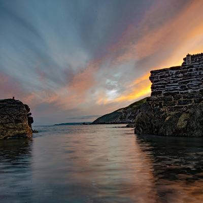 Sunset from Portwrinkle Harbour Se Cornwall-Jonathan Somers-Photographic Print