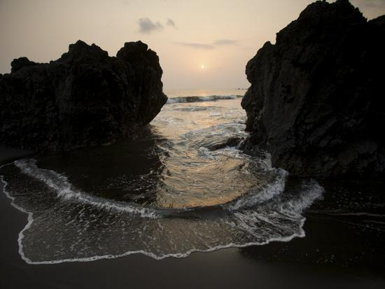 Sunset from the Volcanic Black Sand Beach on Bioko's South Coast-Tim Laman-Photographic Print