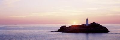 Sunset, Godrevy Lighthouse, Cornwall, England, United Kingdom--Photographic Print
