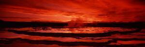 Sunset, Great Fountain Geyser, Yellowstone National Park, Wyoming, USA