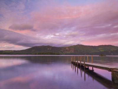Sunset, Hawes End Landing Stage Jetty, Derwent Water, Lake District, Cumbria, England, UK-Neale Clarke-Photographic Print