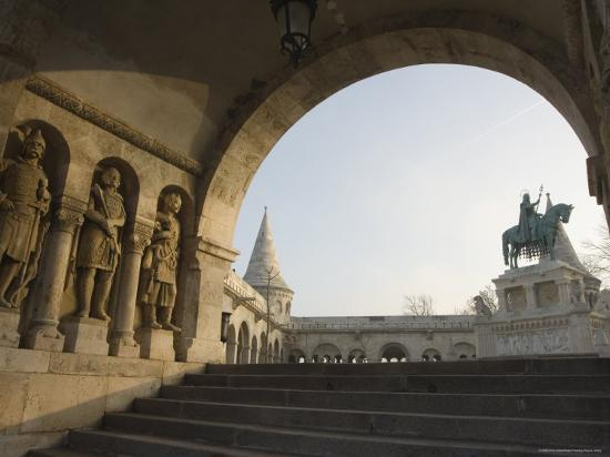 Sunset Ight on St. Stephens Statue, Castle Hill Area, Budapest, Hungary, Europe-Christian Kober-Photographic Print