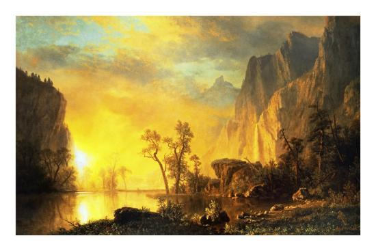 Sunset in the Rockies-Albert Bierstadt-Art Print