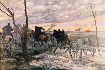 Sunset in the Valley of Yser: a 75 Cannon Being Wheeled to a Strategic Position, c.1914-Georges Bertin Scott-Giclee Print