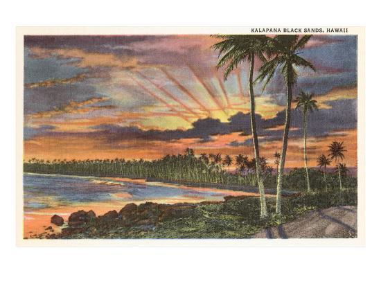 Sunset, Kalapana Black Sands, Hawaii--Art Print