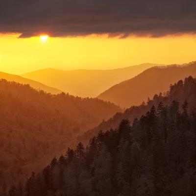Sunset Light Reflected by Clouds Fills Valley with Warm Light-Ann Collins-Photographic Print