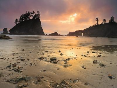 Sunset Light Through Breaks in the Clouds on Second Beach, Olympic National Park, Washington, USA-Geoffrey Schmid-Photographic Print