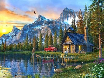 Sunset Log Cabin-Dominic Davison-Art Print