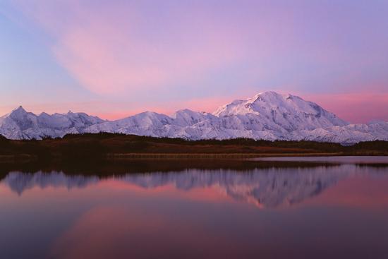 Sunset, Mount Mckinley in Denali National Park, Alaska Reflected in Reflection Pond.-Mint Images - David Schultz-Photographic Print