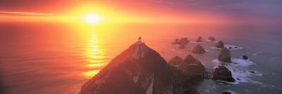 Sunset Nugget Point Lighthouse New Zealand--Photographic Print