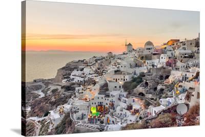 Sunset Oia - Santorini Greece--Stretched Canvas Print