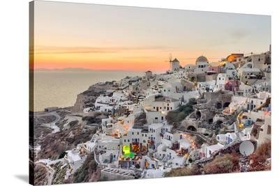 Sunset Oia - Santorini Greece--Stretched Canvas Print