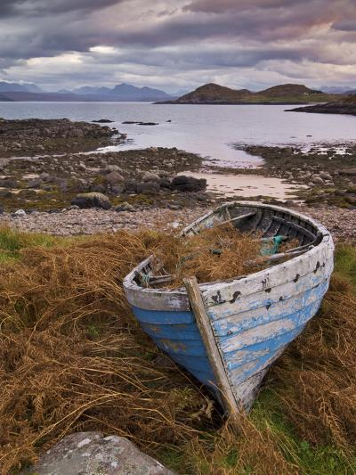 Sunset, Old Blue Fishing Boat, Inverasdale, Loch Ewe, Wester Ross, North West Scotland-Neale Clarke-Photographic Print
