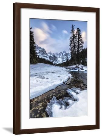 Sunset on a Frozen Creek. Venagia Valley Panaveggio Natural Park Dolomites-ClickAlps-Framed Photographic Print