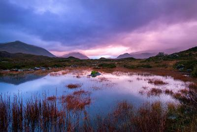 Sunset on a Lochan at Sligachan on the Isle of Skye, Scotland UK-Tracey Whitefoot-Photographic Print