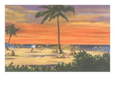 Sunset on a Tropical Beach--Art Print