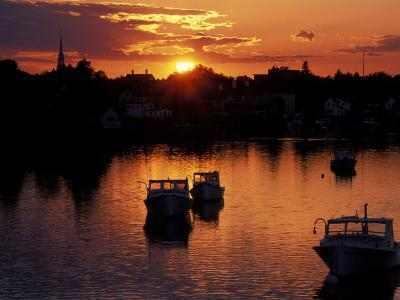 Sunset on Boats in Portsmouth Harbor, New Hampshire, USA-Jerry & Marcy Monkman-Photographic Print