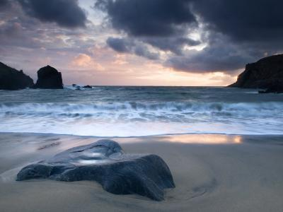 Sunset on Dalbeg Beach, Isle of Lewis, Hebrides, Scotland, UK-Nadia Isakova-Photographic Print