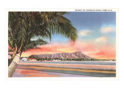 Sunset on Diamond Head, Honolulu, Hawaii--Art Print
