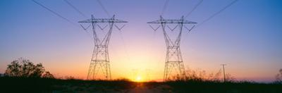 Sunset on Electrical Transmission Towers Near Lancaster, California