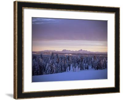 Sunset on Grand Tetons from Two Tops, West Yellowstone, Montana, USA-Alison Wright-Framed Photographic Print