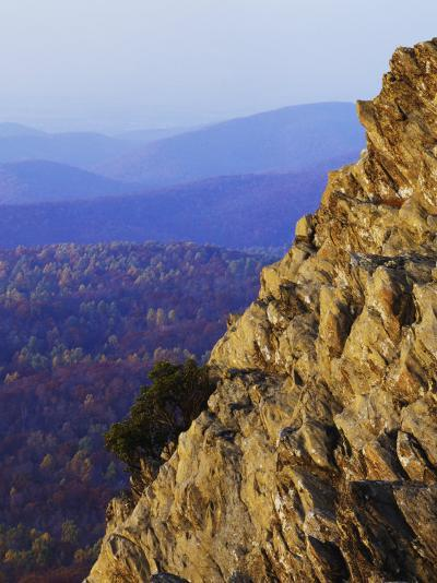 Sunset on Humpback Rocks, Blue Ridge Parkway, Virginia, USA-Charles Gurche-Photographic Print