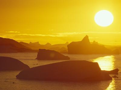 Sunset on Icebergs in the Bismark Strait, Petermann Island, Alaska, USA-Hugh Rose-Photographic Print