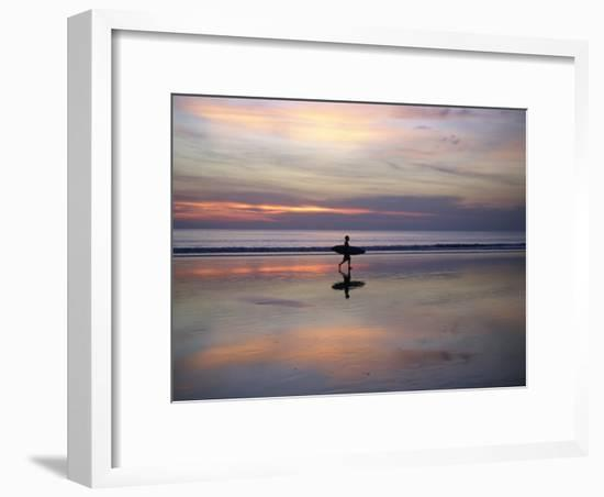 Sunset on Kuta Beach, Surfers Carry their Surfboards from the Ocean-xPacifica-Framed Photographic Print