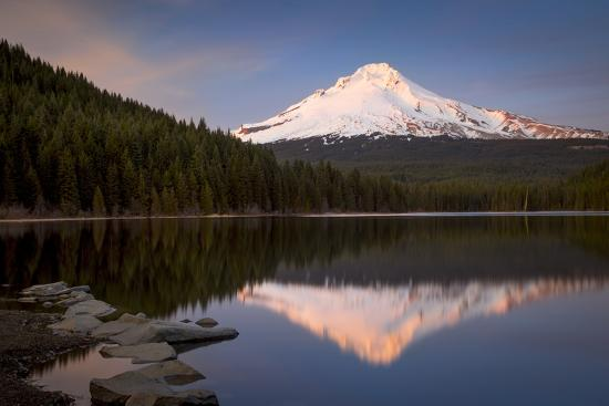 Sunset on Mount Hood from Trillium Lake, Cascade Mountains, Oregon-Brian Jannsen-Photographic Print