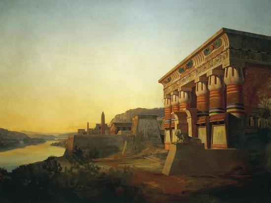 Sunset on Nile and Egyptian Temple, 1869 by Carlo Macro Jr 19th Century--Giclee Print
