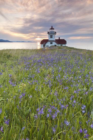 Sunset on Patos Island Lighthouse, San Juan Islands, Washington, USA-Jaynes Gallery-Photographic Print