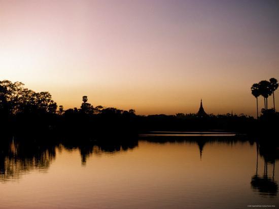 Sunset on Royal Lake, Yangon (Rangoon), Myanmar (Burma)-Upperhall-Photographic Print
