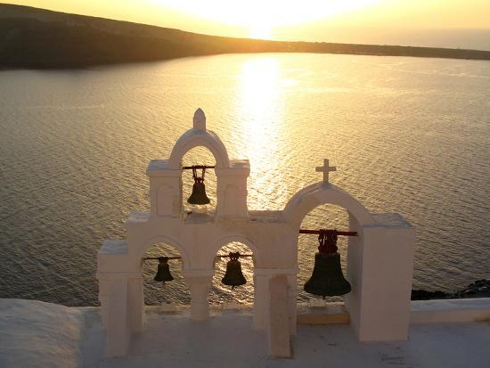 Sunset On the Aegean Sea, Behind a Set of Church Bells-Charles Kogod-Photographic Print