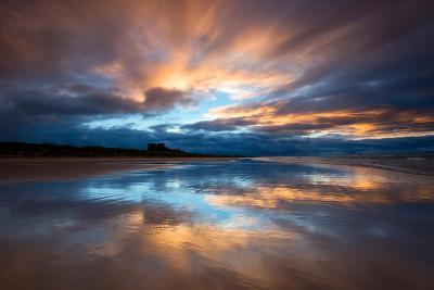 Sunset on the Beach at Bamburgh, Northumberland England UK-Tracey Whitefoot-Photographic Print