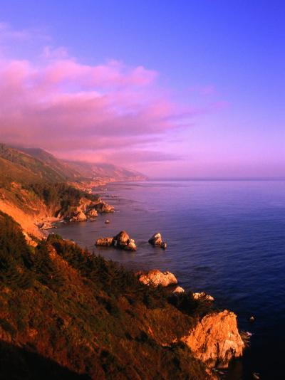 Sunset on the Big Sur Coastline, California, USA-Thomas Winz-Photographic Print