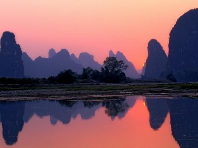 Sunset on the Karst Hills and Li River, China-Keren Su-Photographic Print