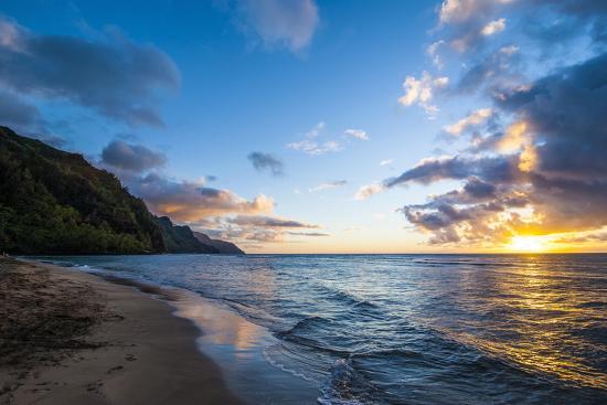 Sunset on the Napali Coast, Kauai, Hawaii,United States of America, Pacific-Michael Runkel-Photographic Print