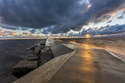 Sunset on the Pier to the Ludington Lighthouse in Lake Michigan in Ludington, Michigan, Usa-Chuck Haney-Photographic Print