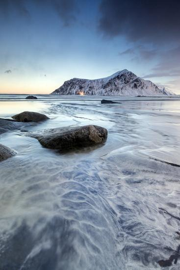 Sunset on the Surreal Skagsanden Beach Surrounded by Snow Covered Mountains-Roberto Moiola-Photographic Print